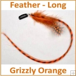 Hair Feathers Clip In Long - Grizzly Orange