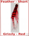Hair Feathers Clip In Short - Grizzly Red