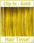 Hair Tinsel Clip In Gold