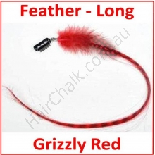 Hair Feathers Clip In Long - Grizzly Red