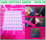 Hair Crystals Iron In - Green
