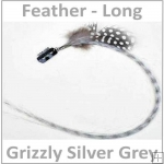 Hair Feathers Clip in Long - Grizzly Grey