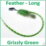 Hair Feathers Clip In Long - Grizzly Green