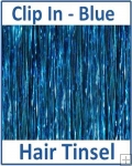 Hair Tinsel Clip In Blue