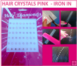 Hair Crystals Iron In - Pink