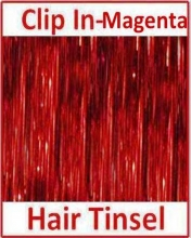 Hair Tinsel Clip In Magenta